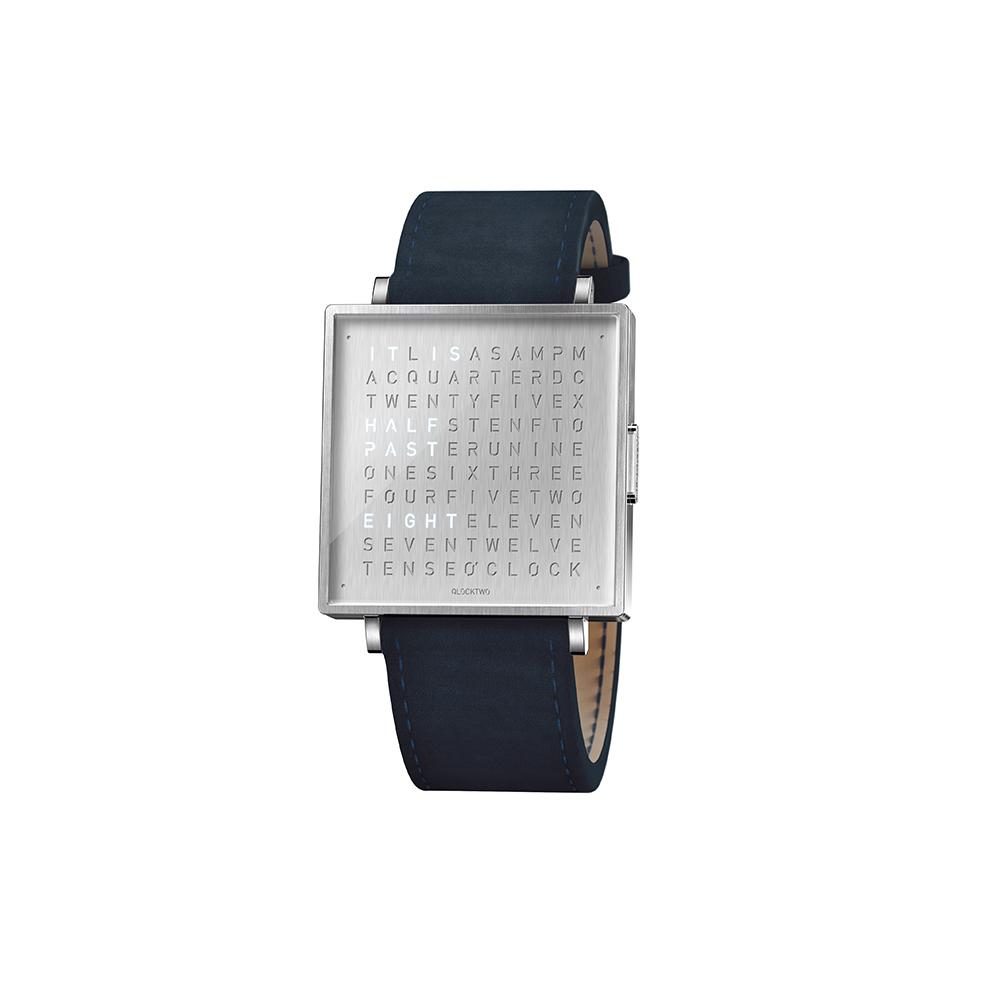 Qlocktwo | Watch W39 Fine Steel典雅銀腕錶-海軍藍麂皮錶帶