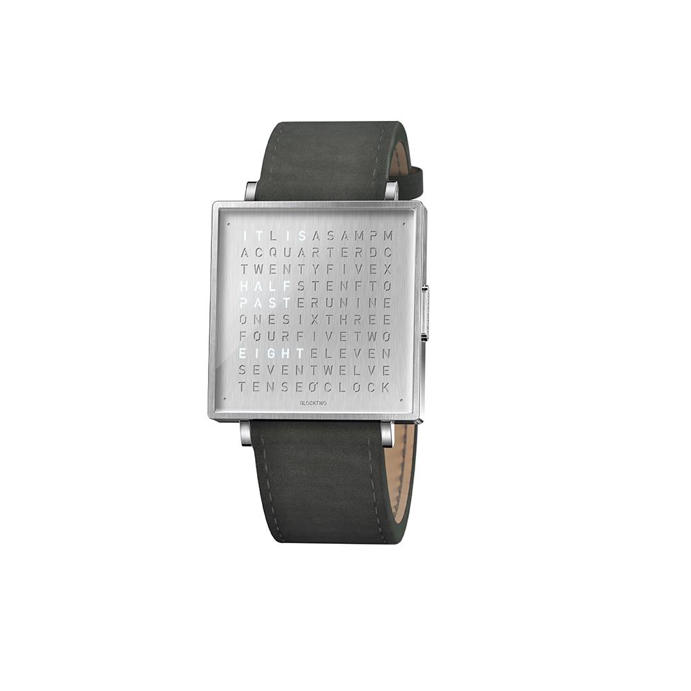 Qlocktwo | Watch W39 Fine Steel典雅銀腕錶-煙燻灰麂皮錶帶