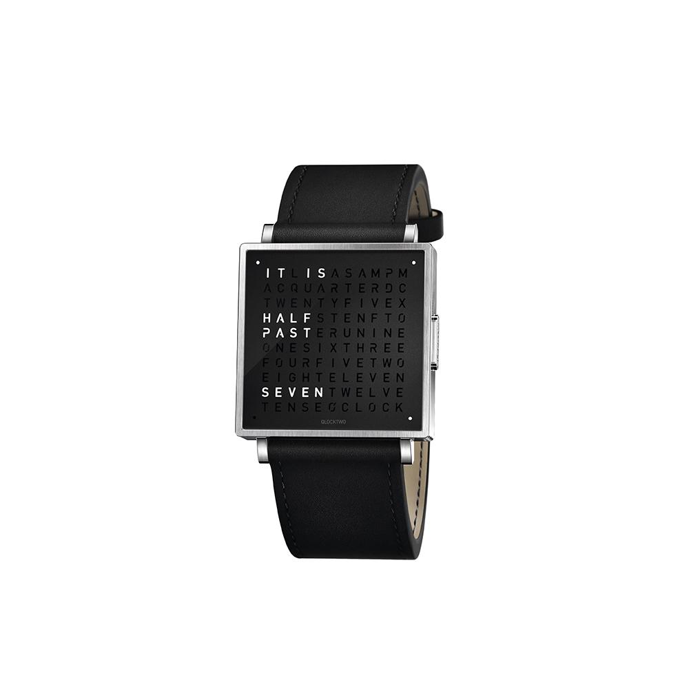 QLOCKTWO W35 Pure Black霧面精鋼腕錶_黑色牛皮錶帶