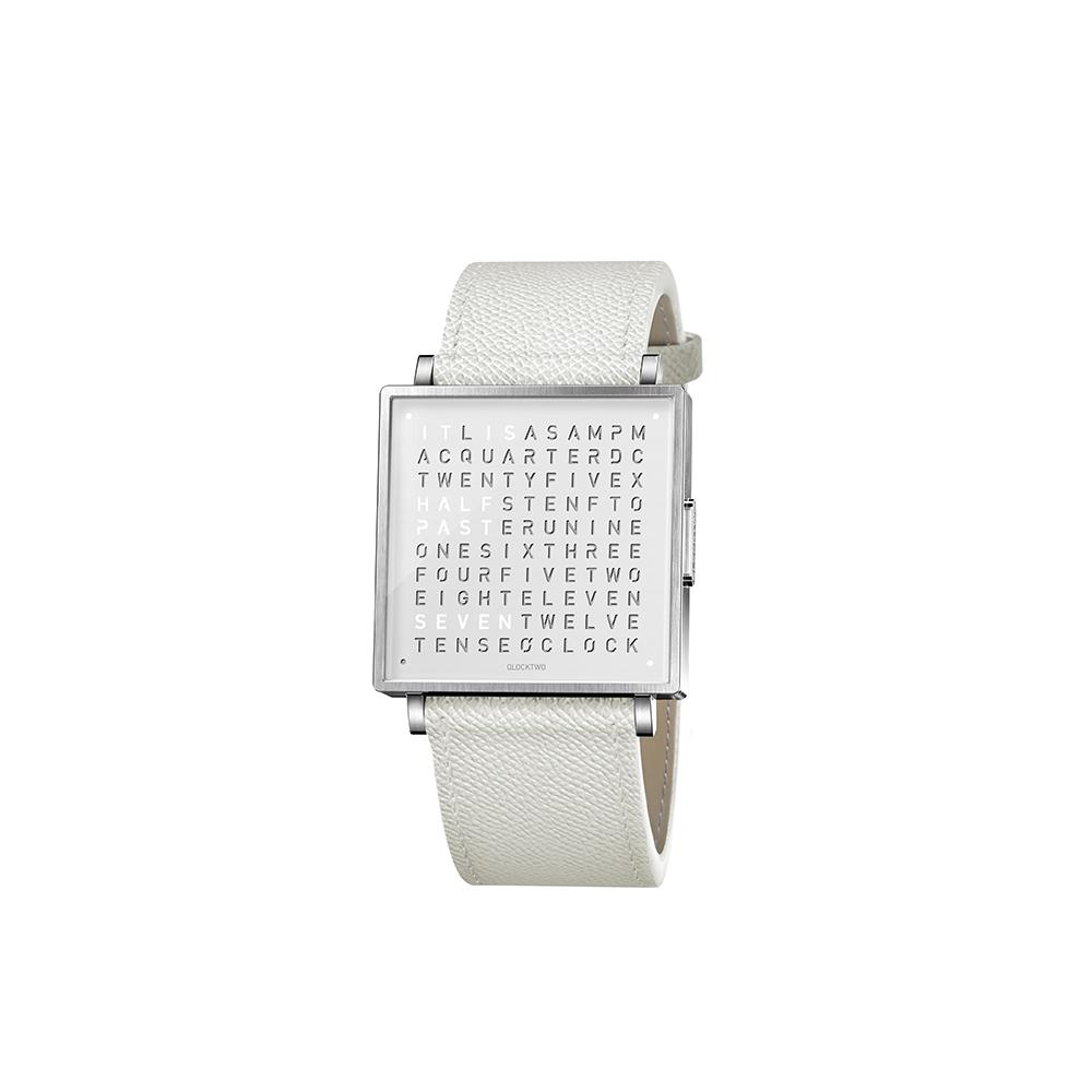 QLOCKTWO W35 Pure White 白色霧面精鋼腕錶_白色法式紋理牛皮錶帶