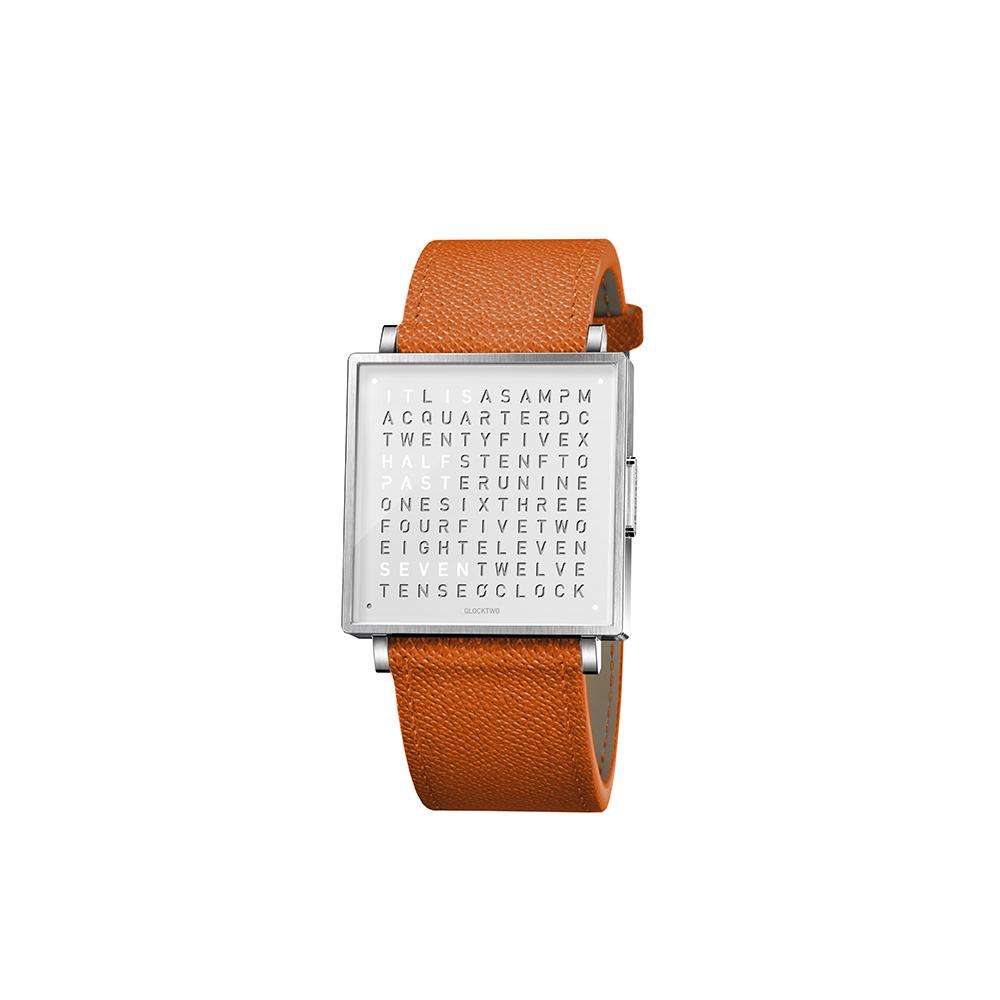 QLOCKTWO W35 Pure White 白色霧面精鋼腕錶_亮橘色法式紋理牛皮錶帶