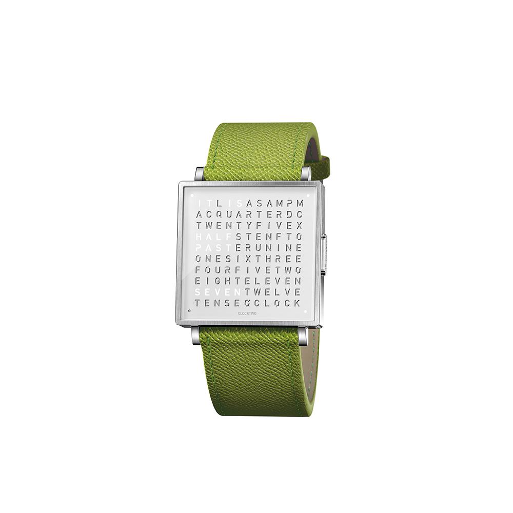 QLOCKTWO W35 Pure White 白色霧面精鋼腕錶_綠色法式紋理牛皮錶帶