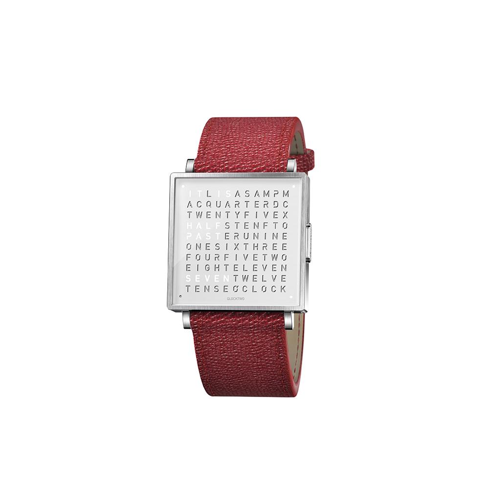 QLOCKTWO W35 Pure White 白色霧面精鋼腕錶_紅色法式紋理牛皮錶帶