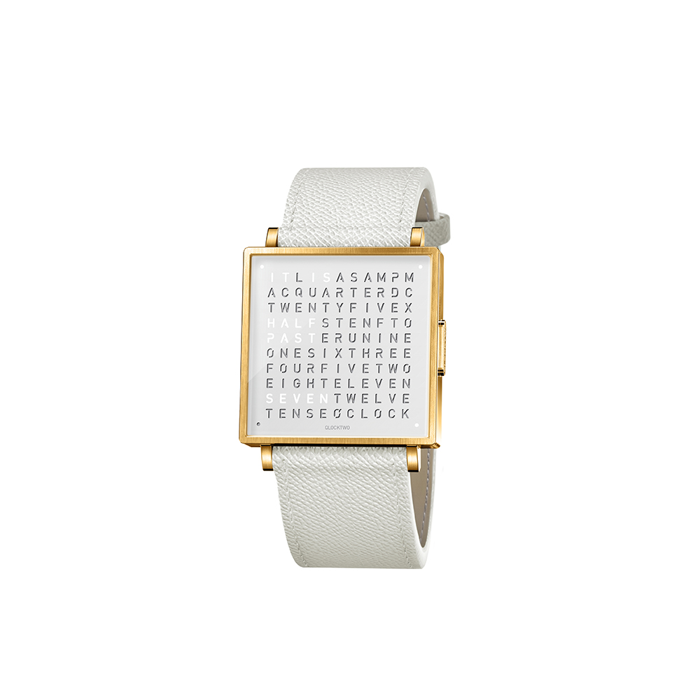 QLOCKTWO W35 Pure White Gold PVD 白色霧面黃金精鋼腕錶_白色法式紋理牛皮錶帶