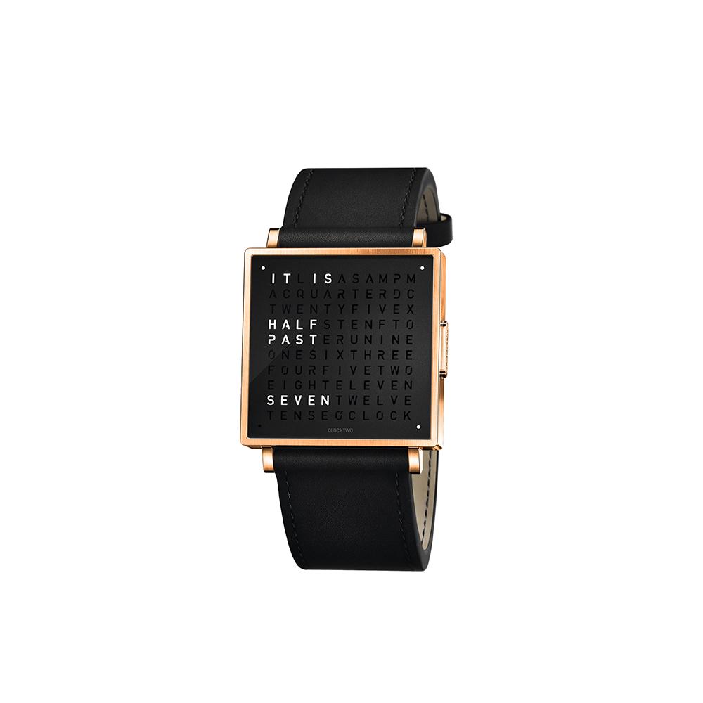 QLOCKTWO W35 Pure Black Rosegold PVD 黑色霧面玫瑰金精鋼腕錶_黑色牛皮錶帶