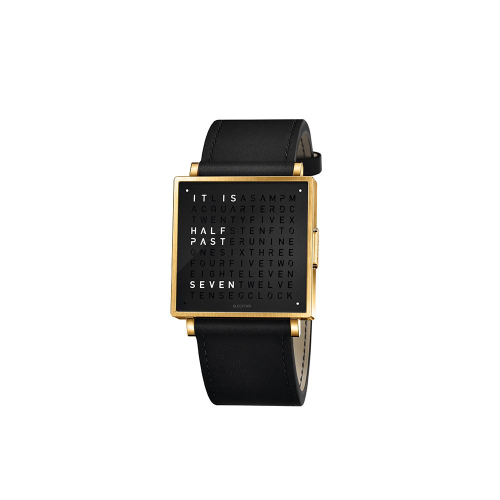QLOCKTWO W35 Pure Black Gold PVD 黑色霧面黃金精鋼腕錶_黑色牛皮錶帶
