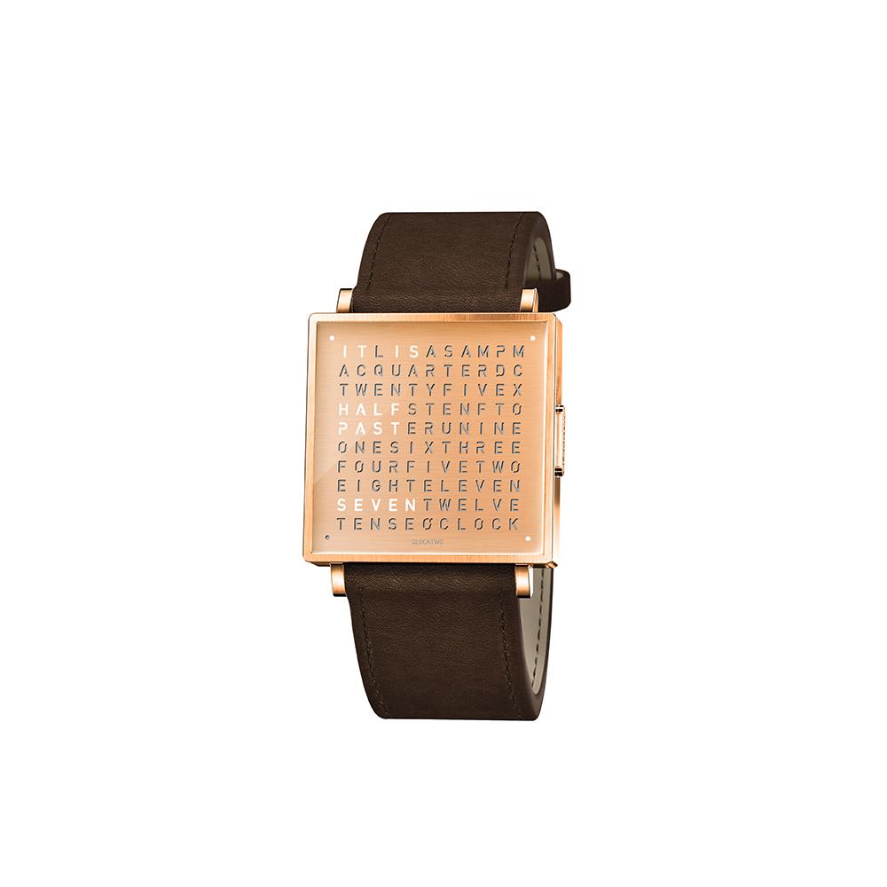 QLOCKTWO W35 Copper, Rosegold PVD 霧面質感玫瑰金腕錶_深咖啡色牛皮錶帶