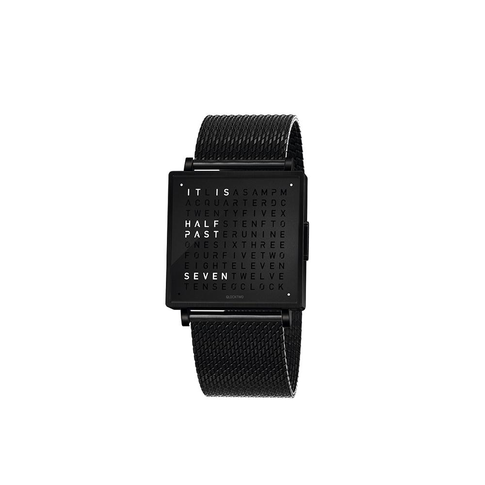 QLOCKTWO W35 Black Steel 洗鍊黑鍊帶腕錶