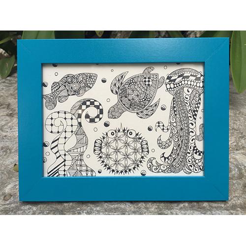 星願Star Wish|禪繞畫Zentangle畫框擺飾-神奇寶貝海洋世界