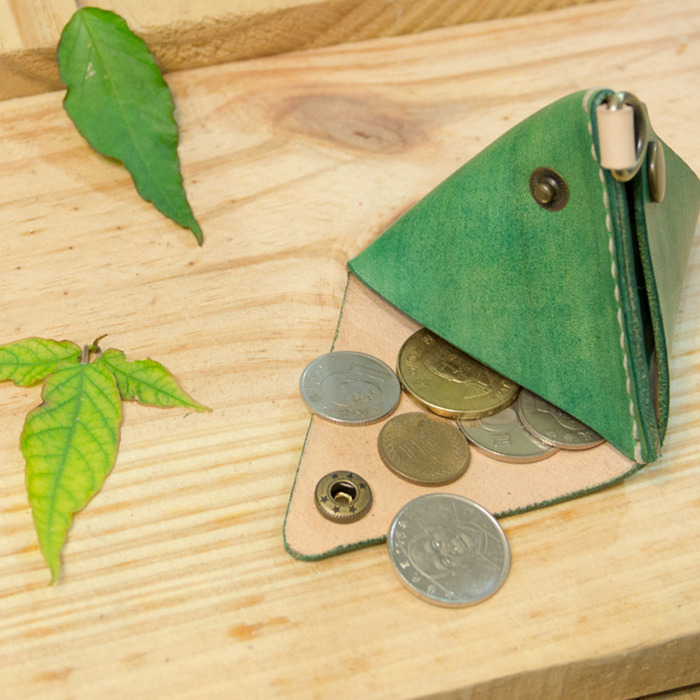 DUAL包粽包中真皮零錢包/手機架 - 綠