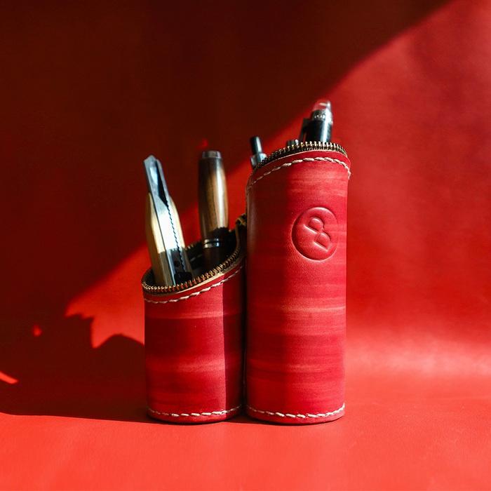 DUAL|真皮手縫筆袋/筆筒帶著走(氣質紅)