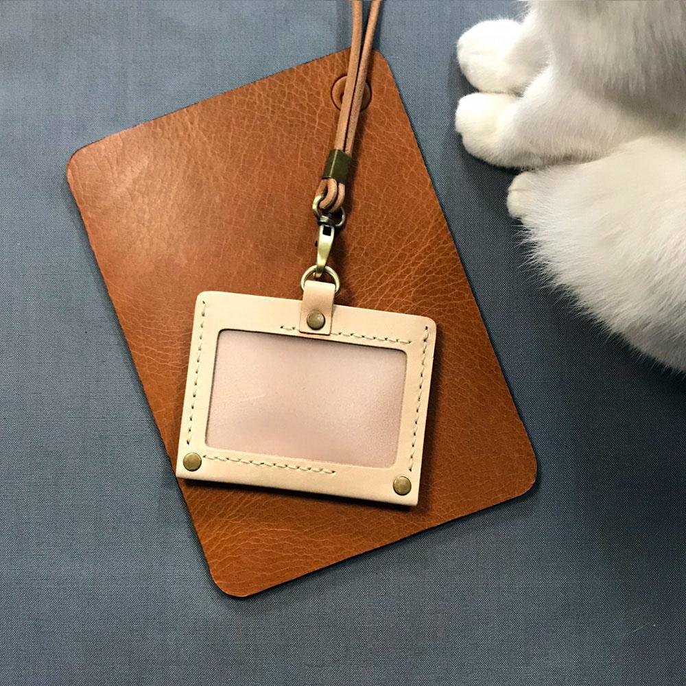 DUAL|真皮手縫簡約橫式證件套(原色植鞣)