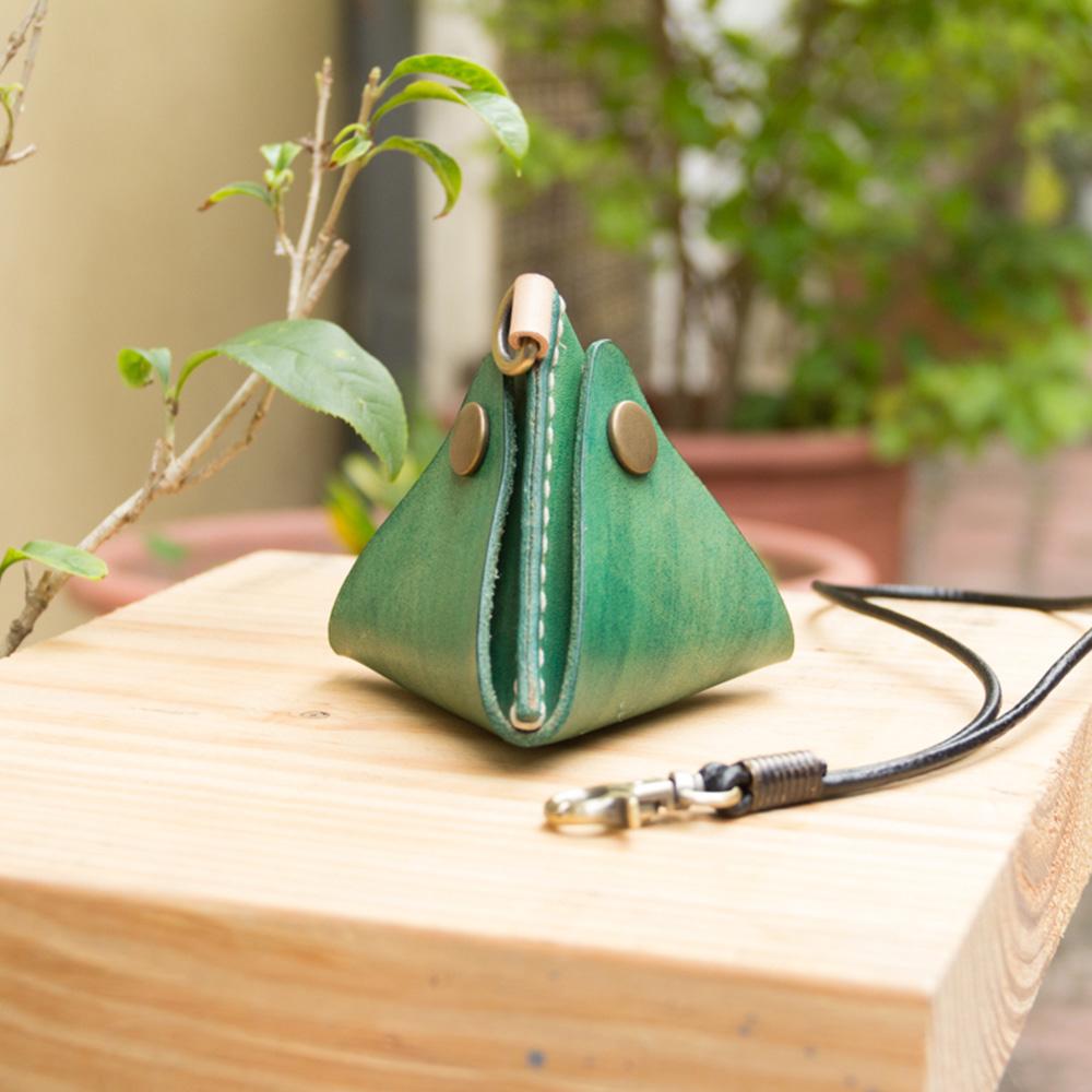 DUAL | 包粽包中真皮零錢包/手機架 - 綠