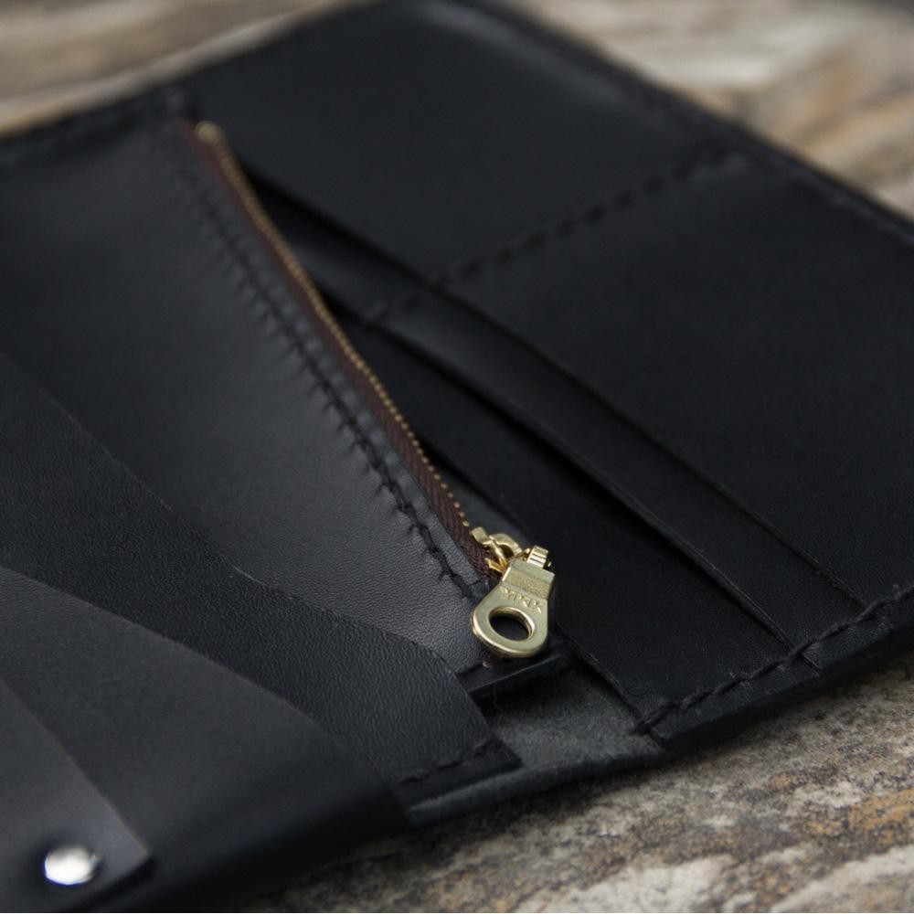 DUAL|手縫植鞣牛皮真皮長夾(經典黑)
