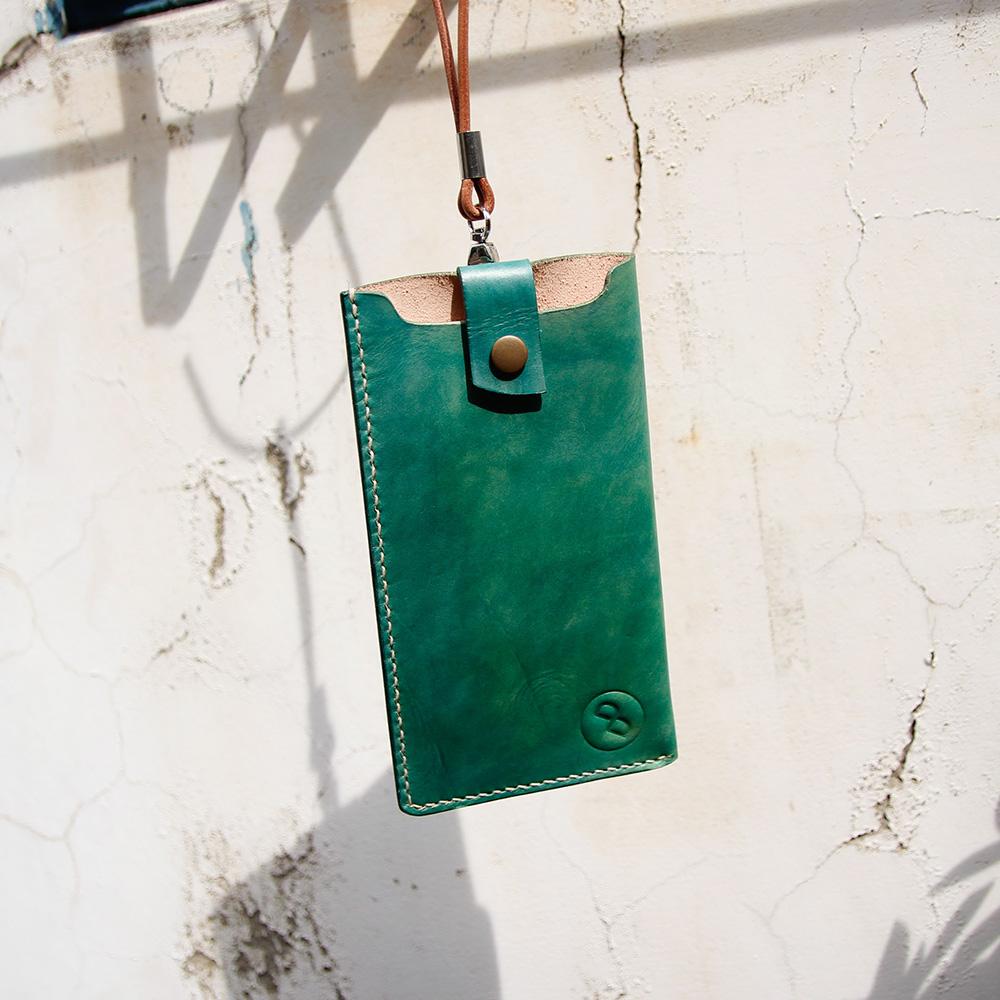 DUAL|手縫皮革弧線卡層手機套(植鞣手染綠)  i7 i7+