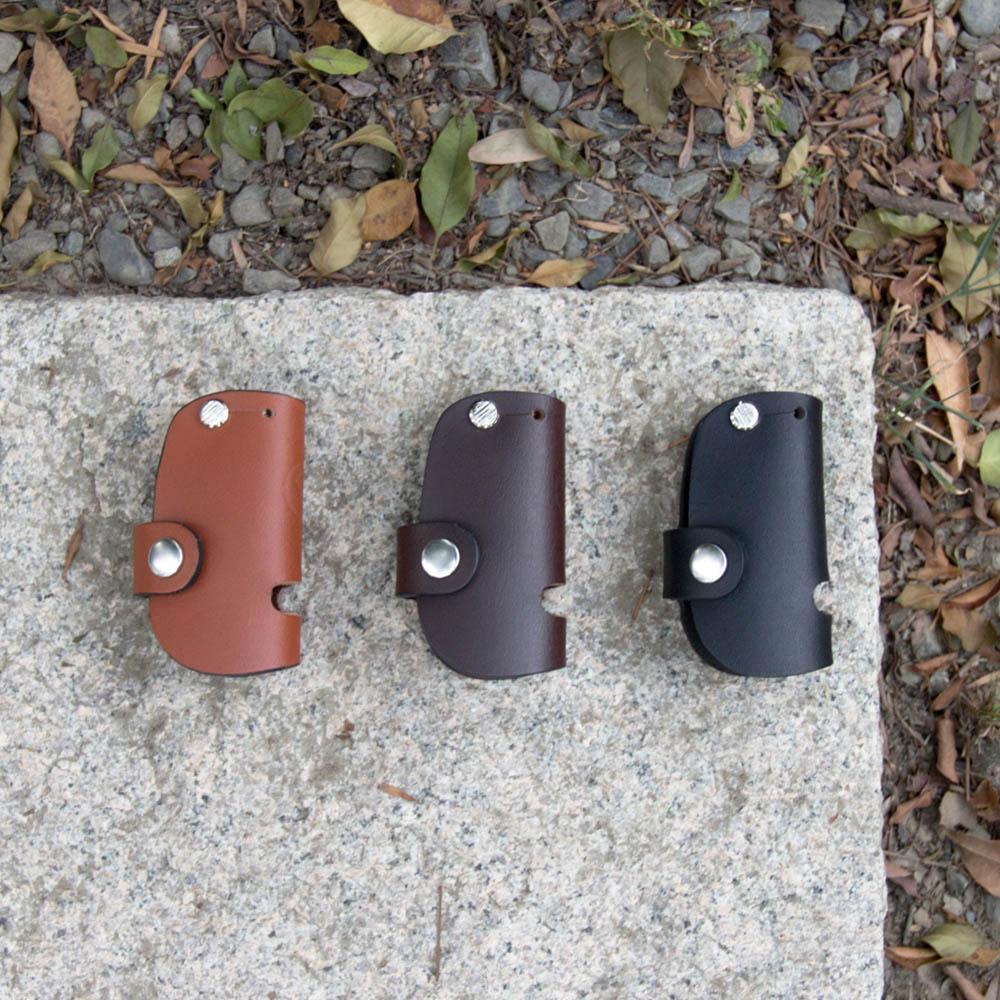 DUAL 真皮創意汽車鑰匙包/手機架 - 圓弧深咖啡