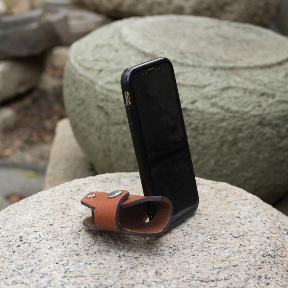DUAL|真皮創意汽車鑰匙包/手機架 - 六角經典黑