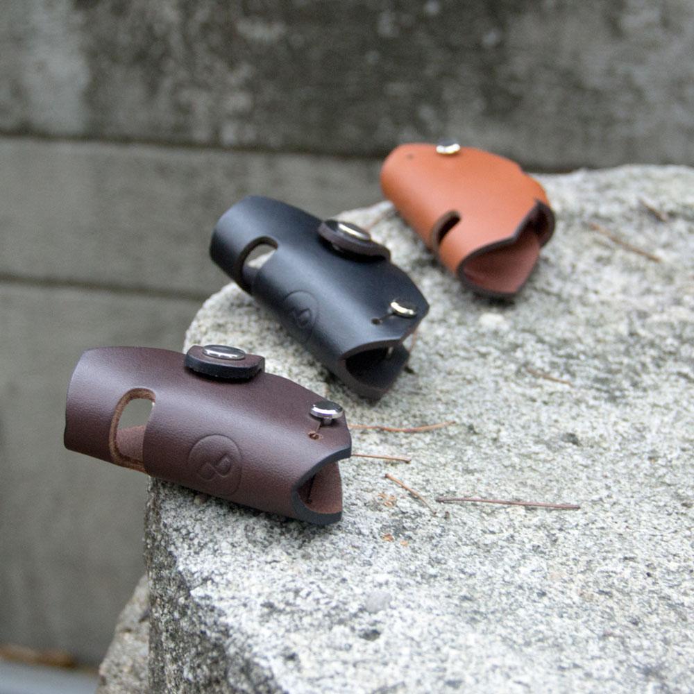 DUAL|真皮創意汽車鑰匙包/手機架 - 六角深咖啡