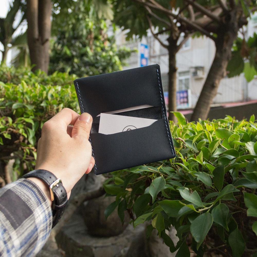 DUAL 頭層牛皮簡約卡片夾 (深藍)
