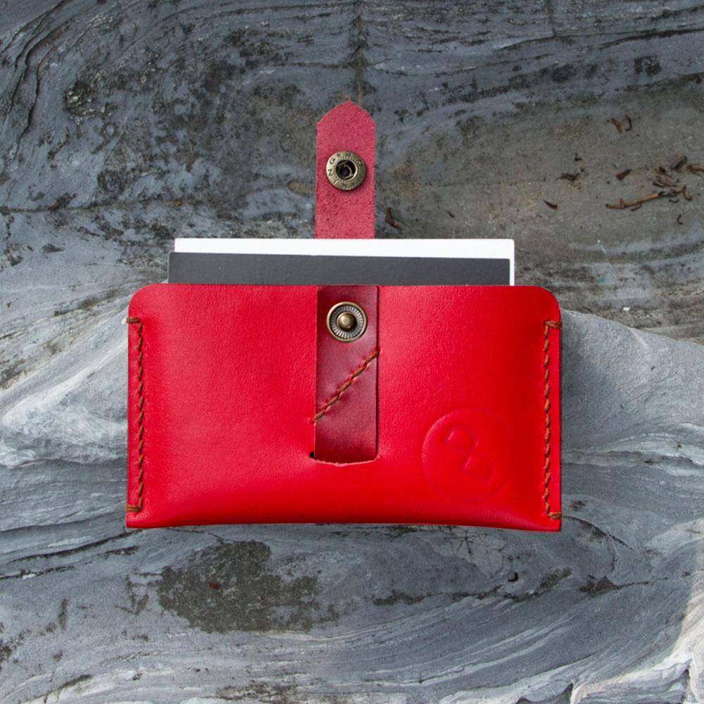 DUAL|頭層牛皮拉帶大容量卡片夾 (喜紅)
