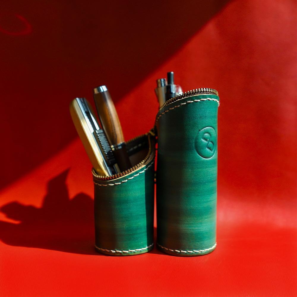 DUAL|真皮手縫筆袋/筆筒帶著走(植鞣綠)