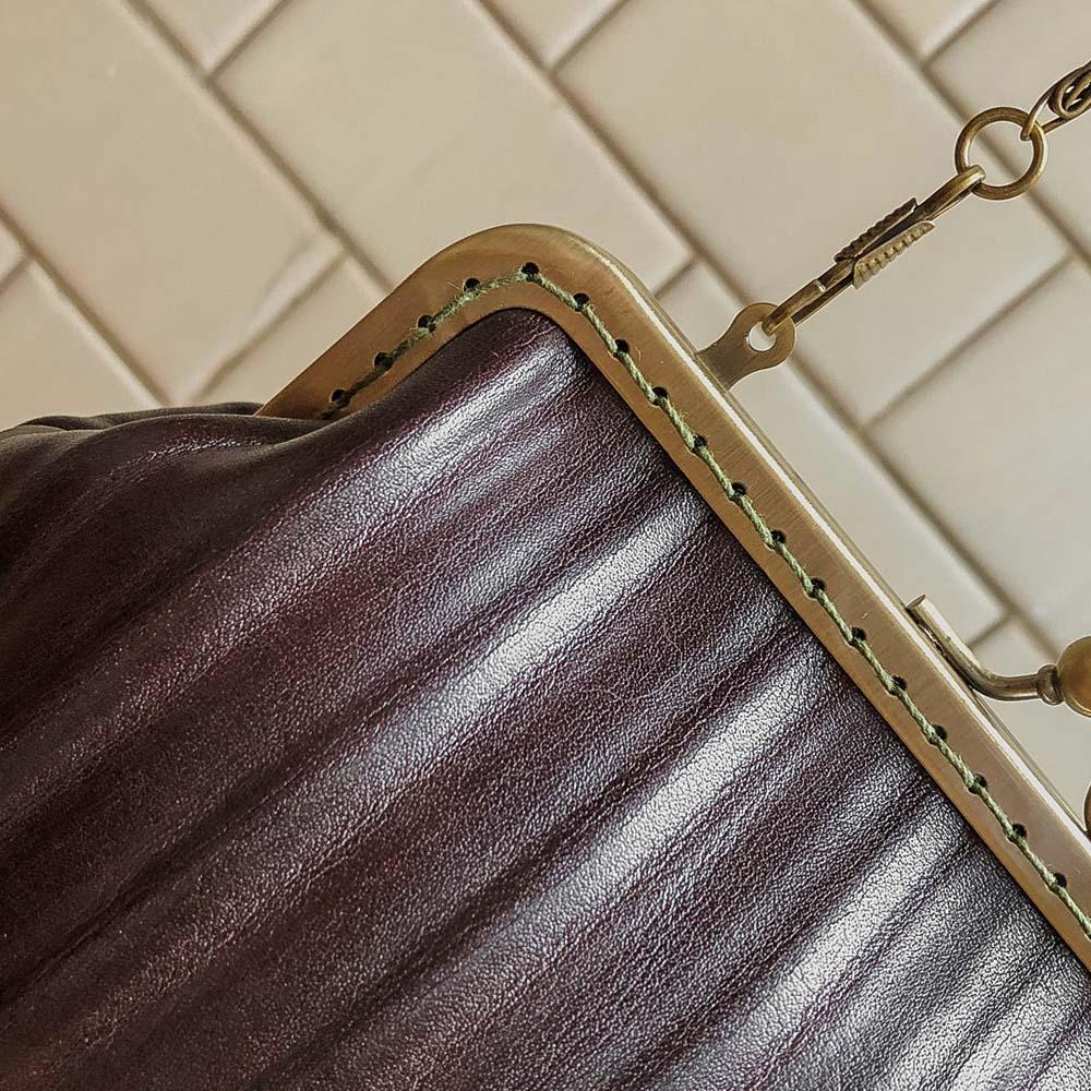 DUAL|皮革復古口金包 (樹紋咖)