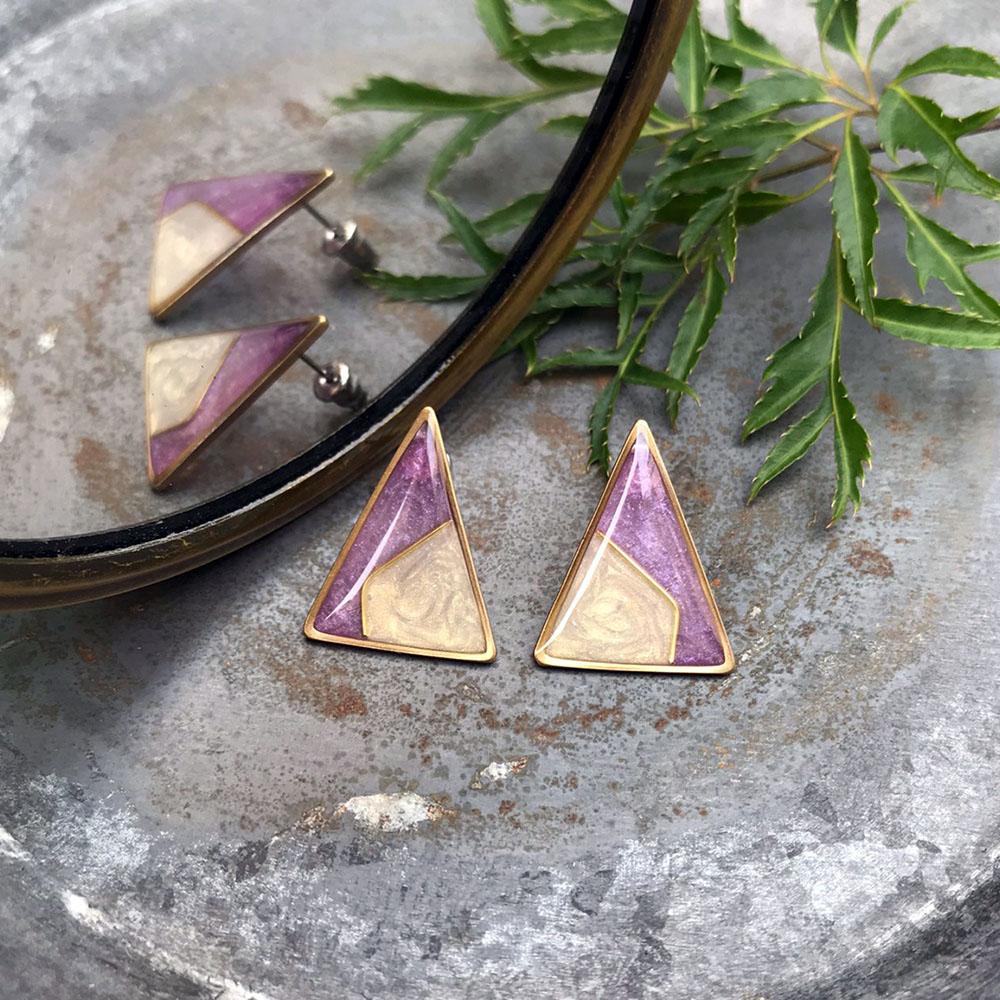 DUAL 復古派對/耳環-衫(淡紫)