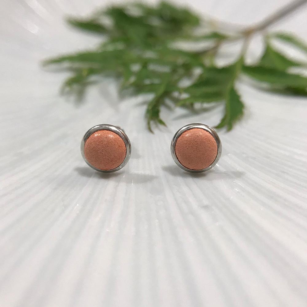 DUAL|皮革耳環/抗敏鋼針-橘