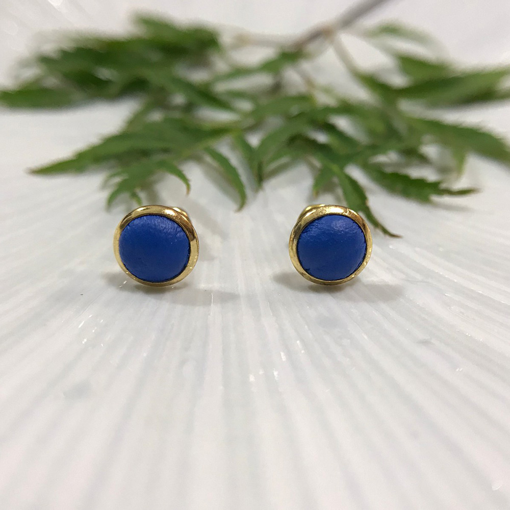 DUAL|皮革耳環/抗敏鋼針-寶藍