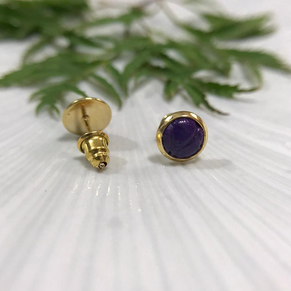 DUAL|皮革耳環/抗敏鋼針-深紫