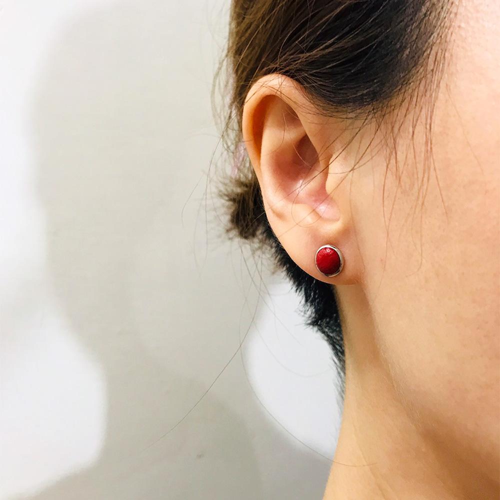 DUAL|皮革耳環/抗敏鋼針-桃紅