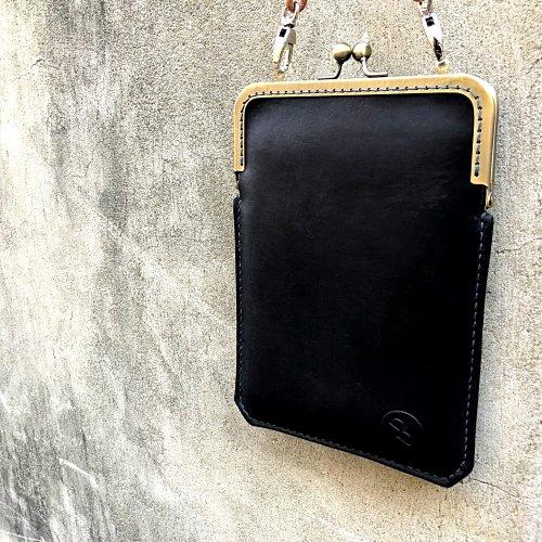 DUAL|淑女斜背口金手機袋 - 優雅黑