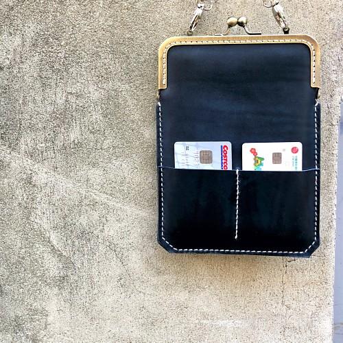 DUAL|淑女斜背口金手機袋 - 優雅藍