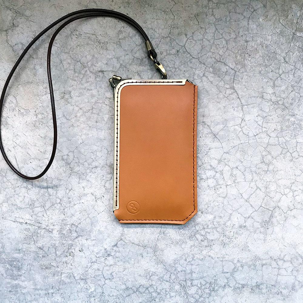 DUAL L 型淑女口金手機套 - 奶油棕