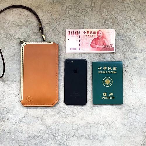 DUAL|L 型淑女口金手機套 - 奶油棕