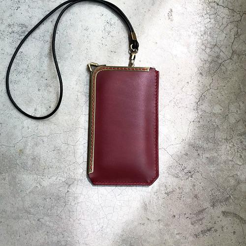 DUAL|L 型淑女口金手機套 - 紅酒紅