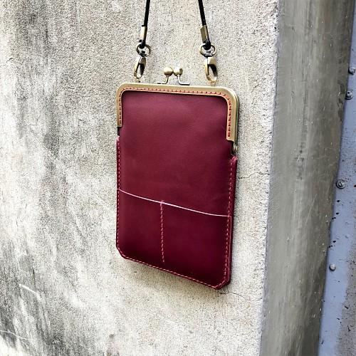 DUAL|淑女斜背口金手機袋 - 紅酒紅