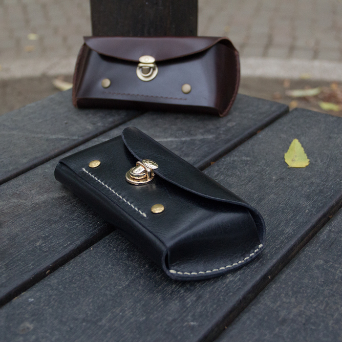 DUAL 皮革立體眼鏡盒/筆袋-質感黑