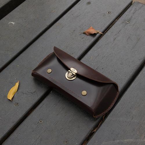 DUAL|皮革立體眼鏡盒/筆袋-手感咖