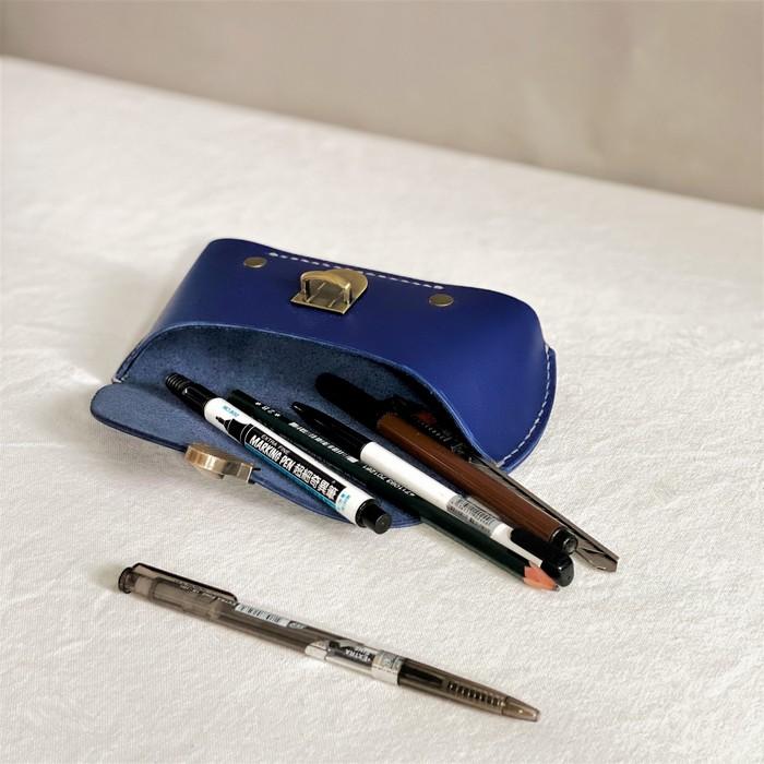 DUAL|皮革紳士兩用眼鏡盒/筆袋-耀眼藍