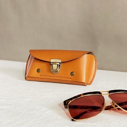 DUAL|皮革紳士兩用眼鏡盒/筆袋-奶油棕