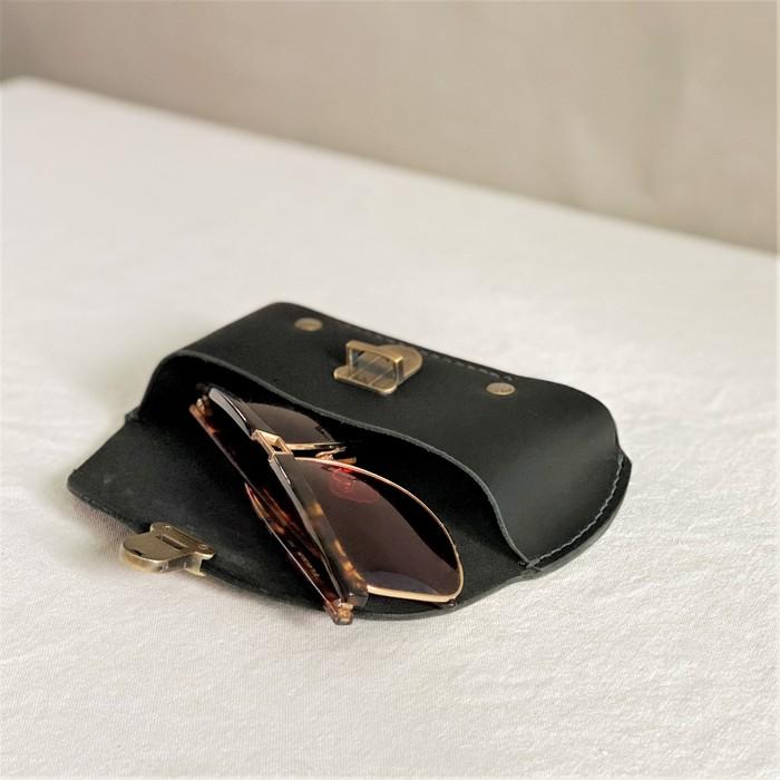 DUAL 皮革紳士兩用眼鏡盒/筆袋-開運綠