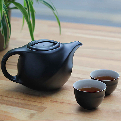 不二堂|絲路茶壺茶杯組 (黑陶)