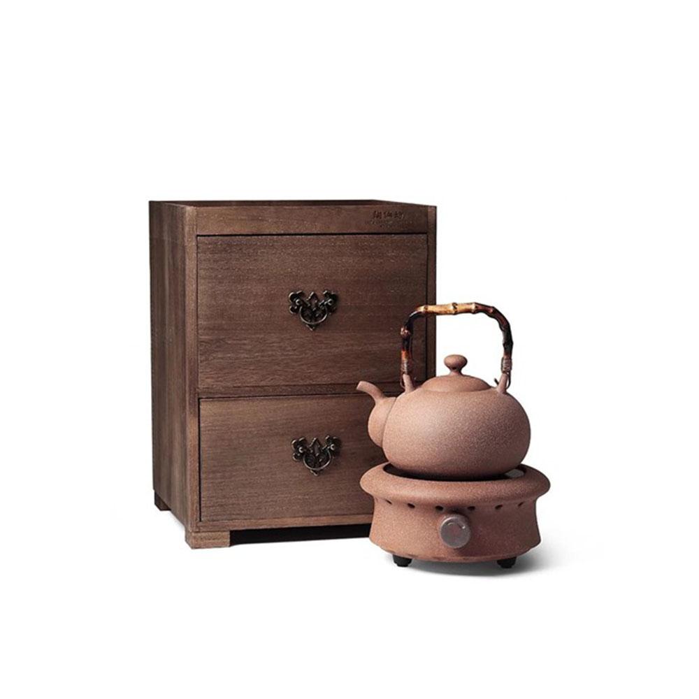 陶作坊|老岩泥一式燒水壺電陶茶爐組(含木櫃)