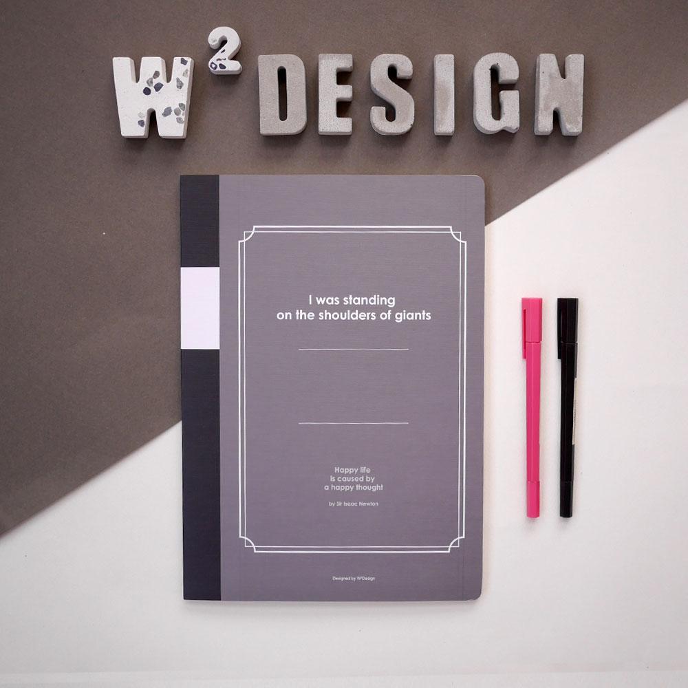 W2Design|思考手札-方眼筆記本A4 (黑 / 二入)