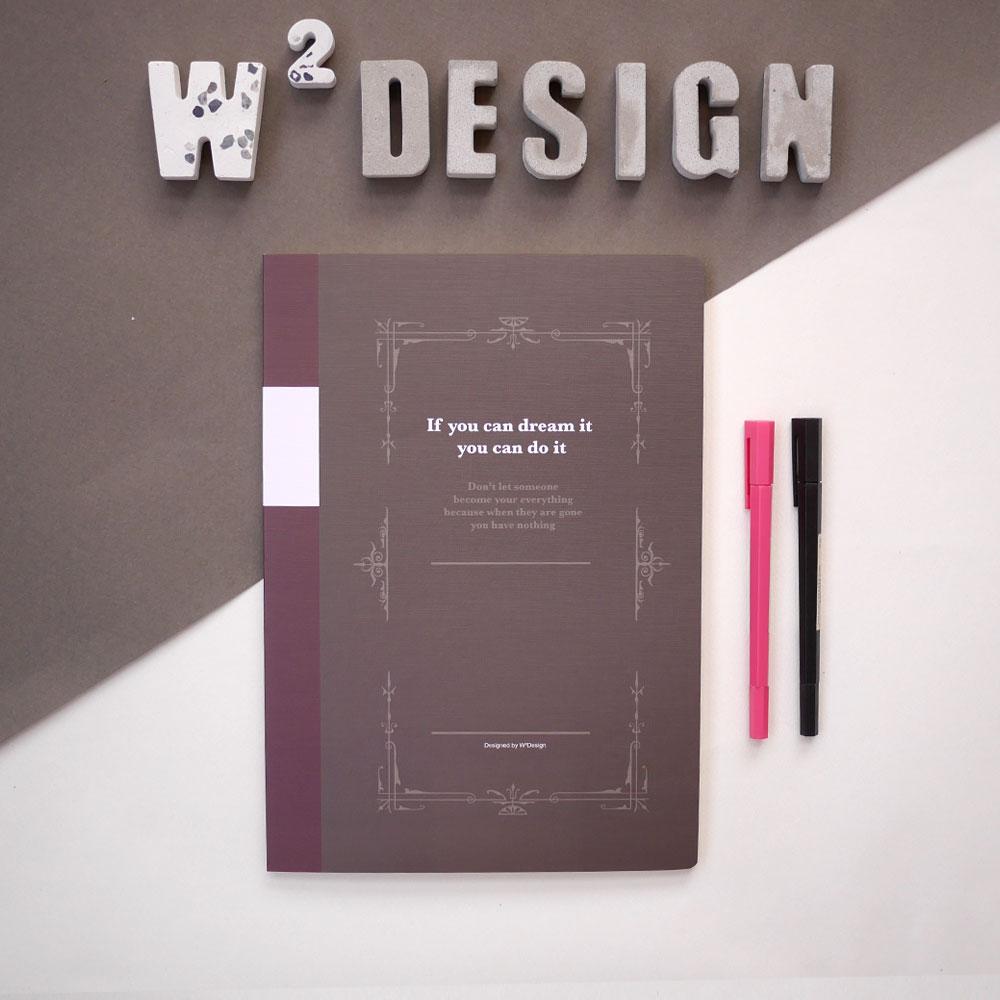 W2Design 思考手札-方眼筆記本A4 (棕 / 二入)
