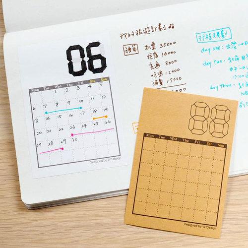 W2Design|日常時光A7迷你手帳月曆貼x12枚入 (二組)