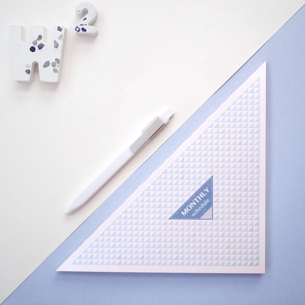 W2Design|三角形 half 無時效月計畫本-香檳藍 (二入)
