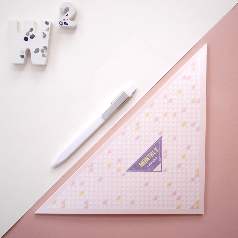 W2Design|三角形 half 無時效月計畫本-閃耀粉 (二入)