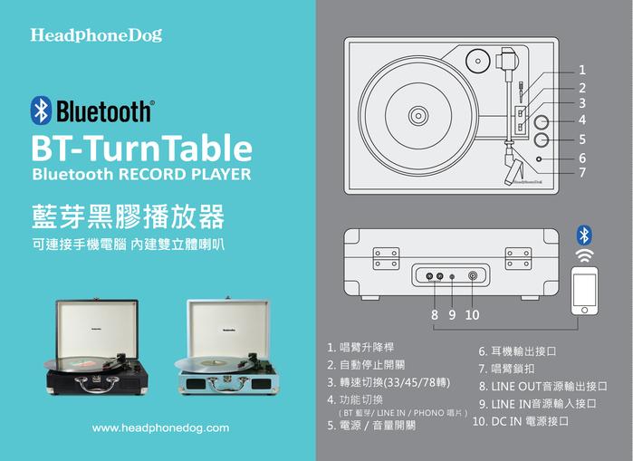 HeadphoneDog|內建喇叭黑膠唱盤播放器-土耳其藍